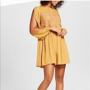 Mustard yellow open sleeve baby doll dress XL